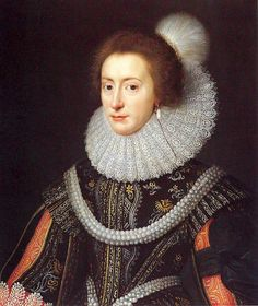 Elizabeth, Queen of Bohemia, studio of Michiel Jansz. van Mierevelt (c. 1623). National Portrait Gallery.  Daughter of James I and Anne of Denmark, Elizabeth married Frederick, Elector Palatine in 1613. She wears the famous Medici Pearls, also known as the Hanover Pearls, six strands joined together in a thick rope.  For her active political life see: http://www.bbc.co.uk/news/magazine-21532311
