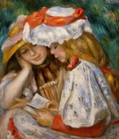 Pierre-Auguste Renoir: Young Girls Reading, 1890. Oil on canvas, 56.5 × 48.2 cm. Los Angeles County Museum of Art, USA