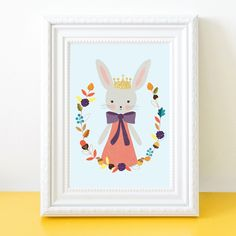 This pretty Bunny Rabbit surrounded by all of Autumns finds & treasures was designed for my daughter who is an Autumn Baby. Nursery Prints, Nursery Wall Art, Nursery Decor, Bunny Art, Gifts For Girls, Bunny Rabbit, Giclee Print, To My Daughter, Colours