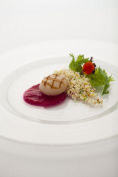 帆立貝のグリル 小さな野菜とクスクス ガスパチョとバジルのアクセント(コースメニューB)