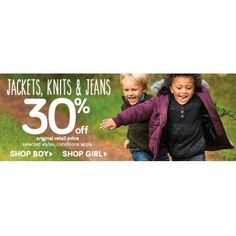 30% OFF Sale on Jackets, Knits & Jeans @ Pumpkin Patch - Bargain Bro