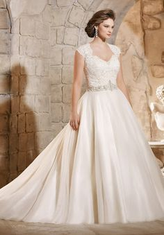 A-linePrincess Sweetheart Court Train Plus Size Applique Wedding Dress with Illusion Back Beading