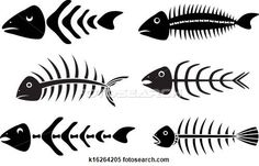 Clipart of various fish bones stencils vector k16264205 - Search Clip Art, Illustration Murals, Drawings and Vector EPS Graphics Images - k16264205.eps