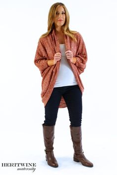 Bring on the layers with this oversized cardigan and maternity skinny jeans.  All at affordable prices.  www.heritwinematernity.com