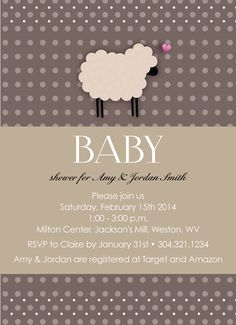 Adorable sheep baby shower invitation customizable to your event! on Etsy, $0.50