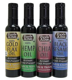 Not sure which artisan cold pressed oil you will like best in our brand new Miron Glass Bottles? Try our variety pack and get one of each!  Flax Oil, Hemp Oil, Chia Oil, and Black Sesame Oil. http://www.foodsalive.com/Omega-3-Oils-8-oz-Miron-Glass-Variety-Pack-p/vp-omega-3-miron.htm