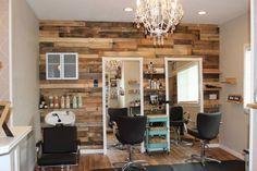 Sonora, Ca boutique, Hair Salon Davines more inside, small salon, pallet wall, mint green, chandelier