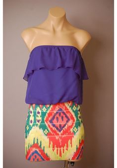 Graphic print skirt with cobalt blue tube top love it!