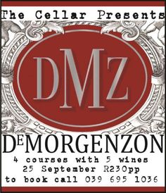 De Morgenzon Evening @ The Cellar Boutique Restaurant 25 September, Cellar, Wines, Coast, Restaurant, Events, Boutique, Shit Happens, Books