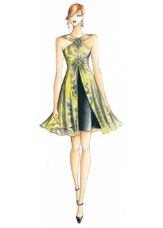 Marfy sewing pattern Dress 2323  Gored skirt and overskirt. Draped bodice secured with beaded diamond