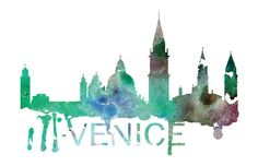 Venice Skyline Watercolor Art Print by DreamMachinePrints on Etsy
