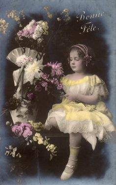 French antique postcards little girl 1 by Fairymelodycollect