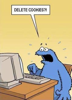 Cookie Monster upset no more cookies on computer they got deleted    lol computer humor