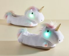 39 Unicorn Products So Cute You'll Think They're Mythical Light Up Unicorn Slippers, Soft Slippers, Christmas Birthday, Christmas Gifts, Winter Flats, Platform Flip Flops, Unicorn Necklace, Perfume, Unicorn Gifts