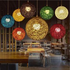 Brighten the room and your mood with a fabulous wicker sphere pendant lamp! Made from premium wicker. Power Source: AC Voltage: 90 - Available in a range of sizes and colors - sold individually. LED light bulbs not included. Decor, Vintage Wicker, Wicker Sphere, Pendant Lamp, Beautiful Lamp, Wicker Pendant Light, Rainbow Vintage, Home Decor, Pallet Patio Furniture