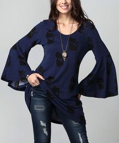 Look what I found on #zulily! Navy Cat Bell-Sleeve Tunic - Plus #zulilyfinds