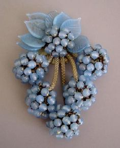 Miriam Haskell early Hess-designed dress clip in baby blue opaque glass beads - early (LOVE MH! Too bad so many other folks do, too. Antique Jewelry, Beaded Jewelry, Vintage Jewelry, Irish Jewelry, 1940s Jewelry, Bling Jewelry, Jewlery, Vintage Costume Jewelry, Vintage Costumes