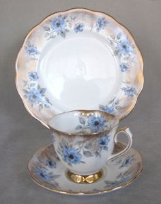 """Lovely Vintage Blue floral Trio. 8"""" Plate, Cup Countess style saucer Fine condition. No chips, cracks, repairs or stains. Nice gold gilt/trim. A great addition to your collection, or nice gift for a collector."""