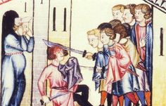 Panel 2 of Cantiga 184 of the Cantigas de Santa Maria of Alfonso X  Her husband got into a brawl with some other men who wounded him in the chest.
