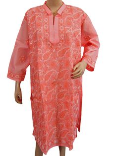 Embroidered Tunic Top Long Kurti Kurta Lakhnavi Chikan Work Pink  $37.99