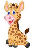 Caricature de joli bébé girafe — Vecteur