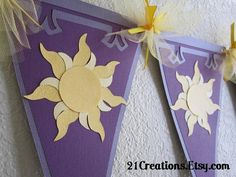 Rapunzel kingdom flags for the Tangled room I'm decorating for my girls.