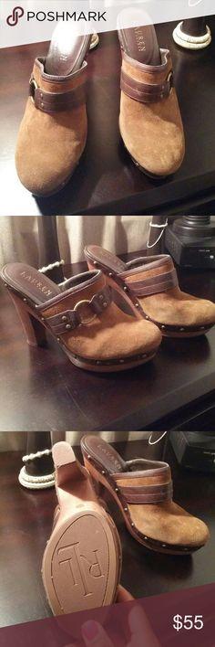 Ralph Lauren brown suede/leather clogs Ralph Lauren brown suede/leather clogs Ralph Lauren Shoes Heels