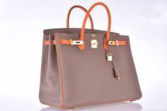 Hermes Birkin Bag Etoupe 40cm Special Order with Orange Gold Hardware
