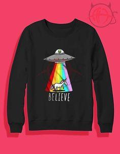 Alien And Unicorn Believe Crewneck Sweatshirt