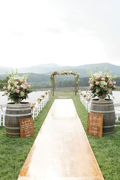 36 Rustic Wedding Decor For Country Ceremony ❤️ rustic wedding decor wine ba. 36 Rustic Wedding Decor For Country Ceremony ❤️ rustic wedding decor wine barrel with flowers and signs outdoor ceremony aisle rachel may photography Wedding Aisle Outdoor, Outdoor Wedding Decorations, Ceremony Decorations, Wedding Ceremony, Wedding Bride, Wedding Rustic, Trendy Wedding, Wedding Country, Outdoor Rustic Wedding Ideas