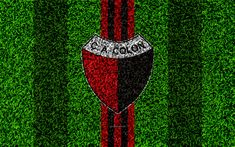 Download wallpapers Club Atletico Colon, 4k, football lawn, logo, Argentinian football club, grass texture, black red lines, Superliga, Santa Fe, Argentina, football, Argentine Primera Division, Superleague, Colon Santa FE