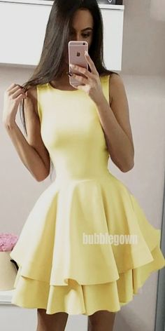 by katelynnatalieb dressesSource by katelynnatalieb dresses Homecoming Dresses Pom Dresses Short 2018 jewel white satin homecoming dress, flatter and flow white satin short prom dress yellow tulle long sleeves school event Yellow Homecoming Dresses, Yellow Evening Dresses, Cheap Homecoming Dresses, Hoco Dresses, Prom Gowns, Wedding Dresses, Teen Party Dresses, Short Evening Dresses, Freshman Homecoming Dresses