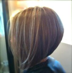 Medium Inverted Bob. stack the back and thinning sheers all around