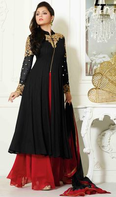 USD 81.35 Black Georgette Palazzo Style Suit 48111