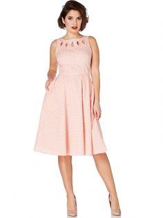 "Women's ""Gingham"" Cutout Flare Dress by Voodoo Vixen (Peach)  Size XL $40 shipped"