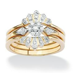 Isabella Collection Yellow Gold Over Silver 1-6ct TDW Diamond Crown Bridal Set (I-J, I2-I3)