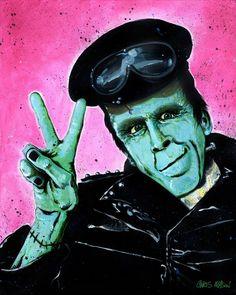 Munster Go Home! Art Print by artofcm Hippie Peace, Hippie Love, Hippie Art, Hippie Chick, Chris Mason, Herman Munster, Peace Fingers, The Munsters, Munsters House