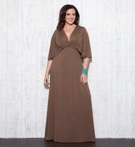 """Opt for maximum style with minimum effort with a comfy jersey knit maxi dress.  The Plus Size Charlize Maxi Dress has dramatic angled sleeves that are designed to flatter.  Based off of a 2x measurement, this dress measures 60"""" from shoulder to the bottom of the dress, making it both a great length for taller gals but can still be easily hemmed for shorter ladies.  With its simplistic design, you can really dress it up or down with your choice of accessories and shoes.  #plussize #kiyonna"""