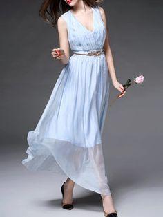Blue Polyester Plain Elegant Maxi Dress