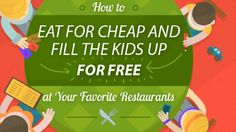 """Restaurants know that feeding kids for free brings in parents. Many restaurants have a """"kids eat free"""" night. This infographic tracks those days at many popular chains, along with other money-saving restaurant tips."""