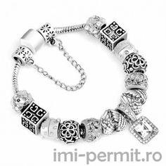 Bratara tip Pandora Square Silver model 29 - Imi permit Pandora Charms, Charmed, Bracelets, Silver, Jewelry, Jewlery, Jewerly, Schmuck, Jewels