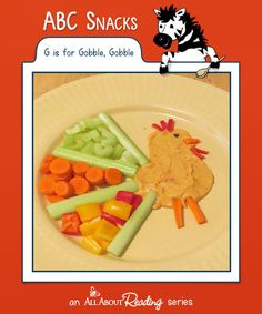 G is for Gobble: is just around the corner, and this ABC Snack is the perfect thing to add to your holiday feast! Preschool Cooking, Cooking With Kids, Thanksgiving Activities For Kids, Thanksgiving Crafts, Food Themes, Food Ideas, Craft Ideas, November Crafts, Creative Snacks