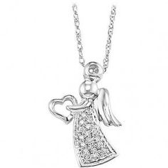 a9a160443d6 Sterling Silver and Diamond Angel Pendant with chain