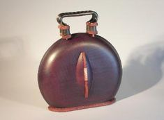 Clamshell Bag - Maple with Claret Dye.   Ornament of Snakewood and Hammered  coppper