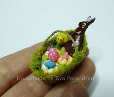 Dollhouse miniature Easter basket with eggs Easter by Evamini, $16.50