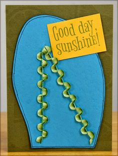 trace a flip flop onto colored card stock. twisty ribbon was used for thong part