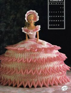 February 1991 Calendar Bed Doll Crochet Pattern Leaflet Annie's Barbie Clothes…