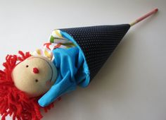 Clown red hair Popup puppet cone puppet by beelicia on Etsy