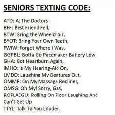 Text codes for us senior citizens.