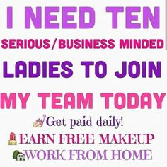 I'm challenging you! I need ten (preferably more) wonderful ladies to join my Younique team! How can you say no to makeup?? I have so much fun with my job, I'm paying off loans, I get to spend time with my daughter, and I am growing so much as a person! Message me or comment below if you have questions or are interested! https://www.youniqueproducts.com/andreahedberg/business/presenterinfo